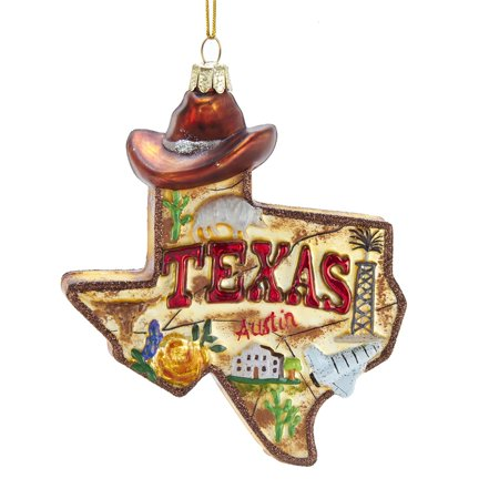 Texas Longhorns Ornaments - State of Texas Outline Glass Christmas Ornament C7589 New