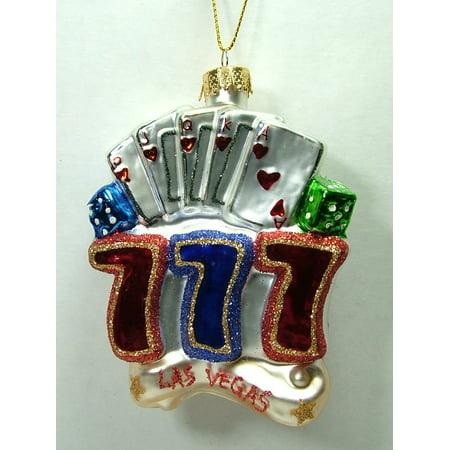 Glass Poker Blackjack Gambling Casino Jackpot Las Vegas 777 Christmas Ornament By On Holiday Ship from US Casino Las Vegas Glass