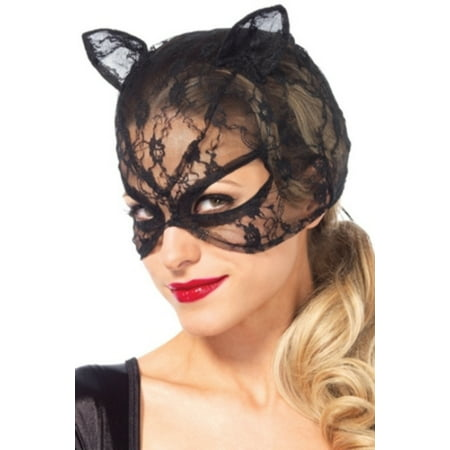 Leg Avenue Women's Lace Cat Mask Costume Accessory, Black, One Size - Lace Cat Mask