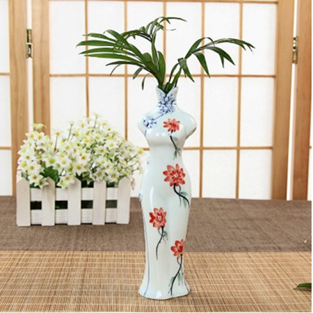 Classic Chinese Style Cheongsam Shaped Porcelain Vase Home Decoration Gift - Pattern-3
