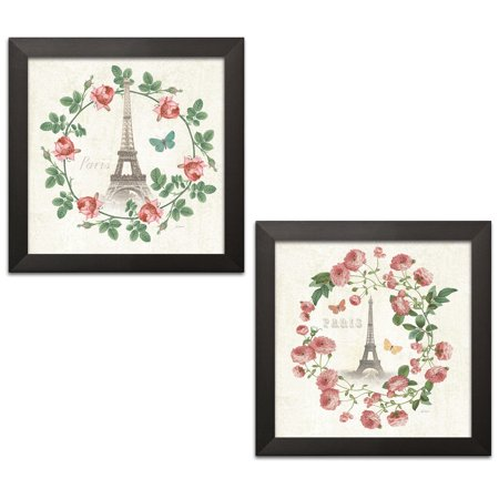Gango Home Decor Shabby-Chic Paris Arbor VII & Paris Arbor VIII by Sue Schlabach (Ready to Hang); Two 12x12in Black Framed Prints