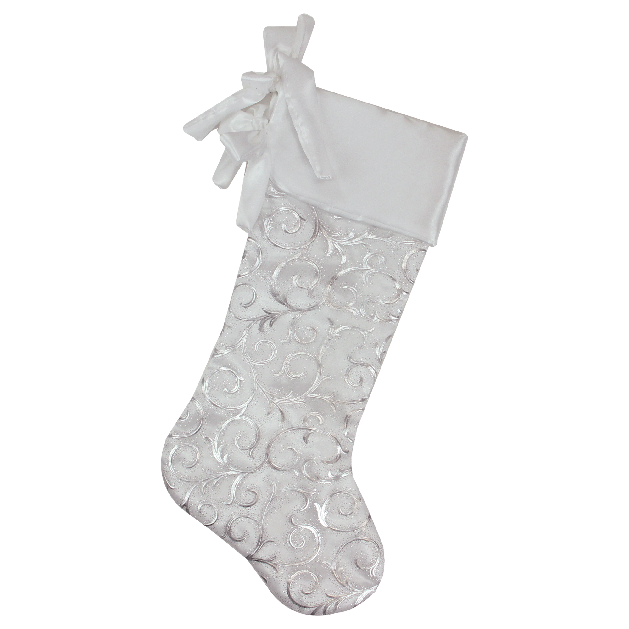 "Silver Beaded Christmas Stocking 19/"""