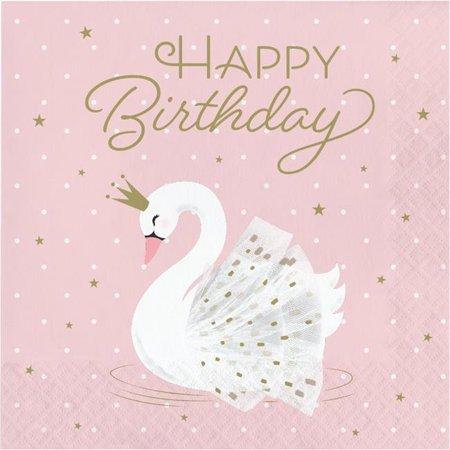 Creative Converting 343837 6.5 in. Swan Happy Birthday Napkins, Pink - Case of 12 - 16 Count - image 1 de 1