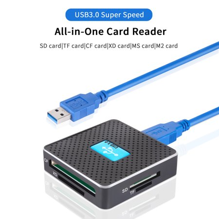 SD Card Reader, All-in-1 USB 3.0 Memory Card Reader Adapter for TF, SD, Micro SD, SDXC, SDHC, MMC, RS-MMC, Micro SDXC, Micro SDHC, CF, MS, M2, XD, UHS-I for Mac, Windows, Linux,