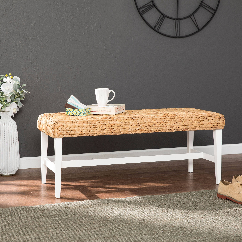 Southern Enterprises Woven Coffee Table Bench, White