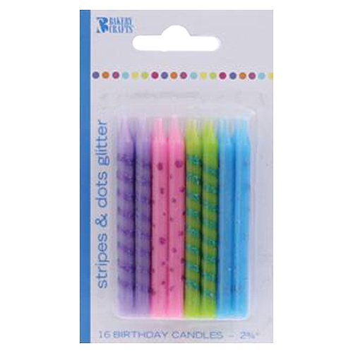 Bakery Crafts Stripes & Dots Glitter Birthday Candles, 16 count