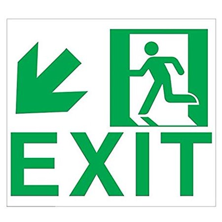 Exit SIGN DOWN LEFT -Adhesive Sign !! (Glow In the dark sign - Photoluminescent ,High Intensity, Adhesive Sign 9x10 (Glow In The Dark Fire Exit Signs)