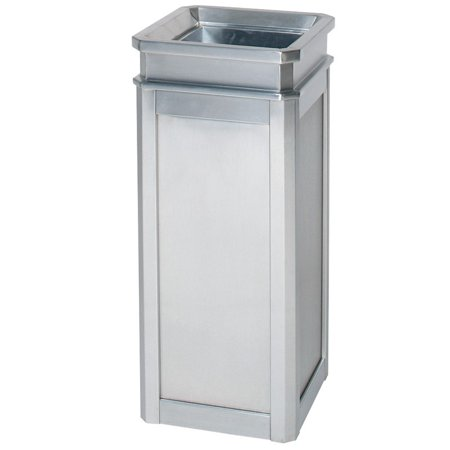 United Receptacle Bin w Open Top and Stainless Accents (Satin Stainless Steel)