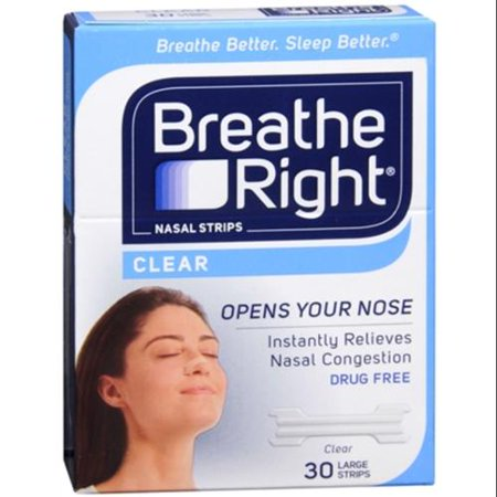 Breathe Right Nasal Strips Clear Large 30 Each  Pack Of 2