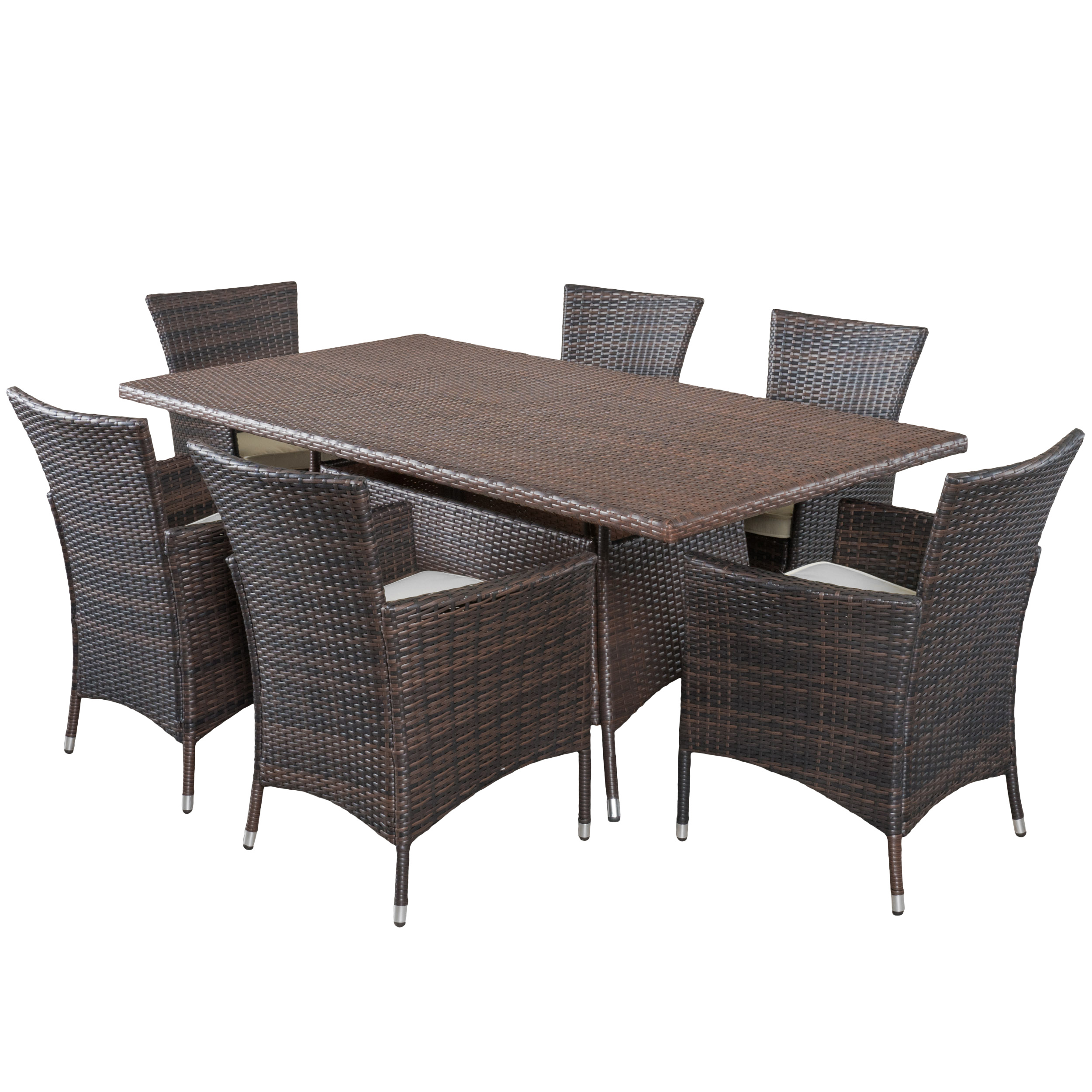 Caden Outdoor Wicker Dining Room Set by GDF Studio