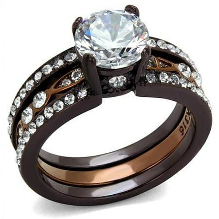 Chocolate Wedding Ring (2.75 Ct Round Cut Cz Chocolate Stainless Steel Wedding Ring Set Women's Size)