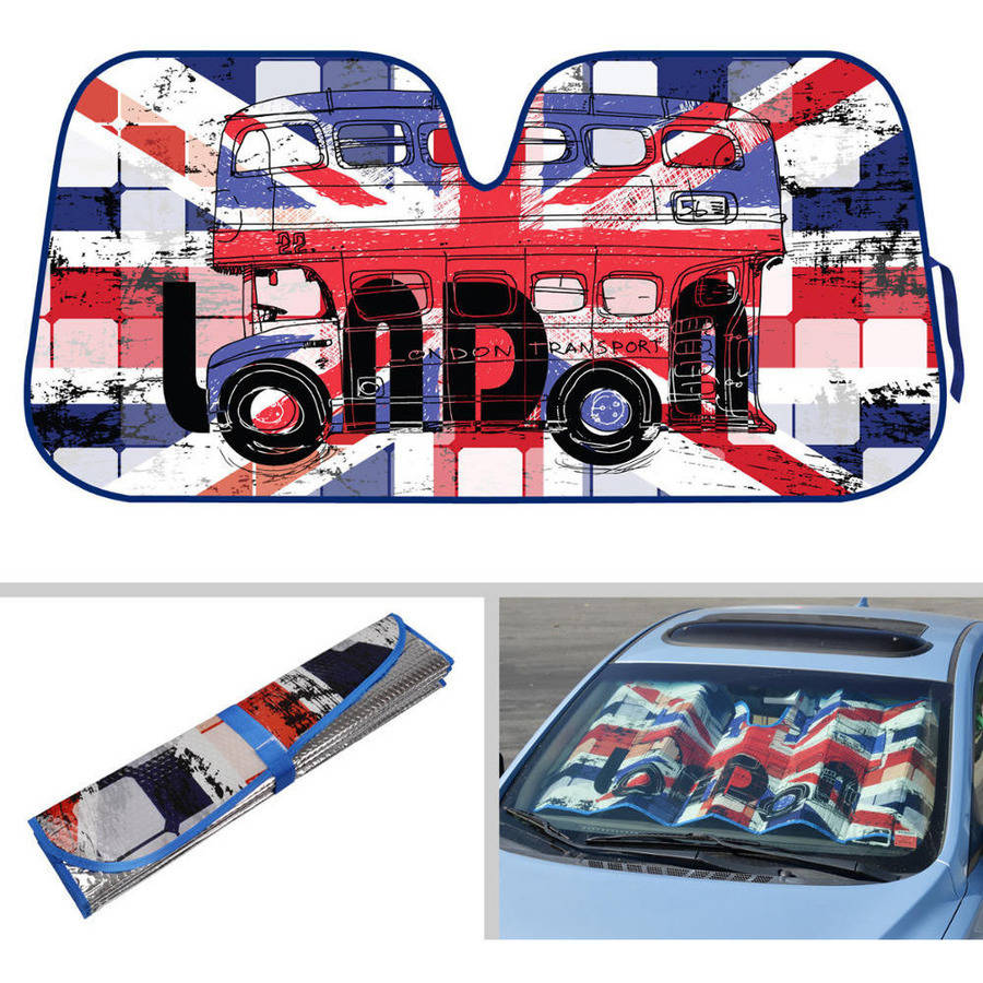 BDK London Design Auto Auto Shade for Car SUV Truck, Union Jack, Double Bubble Foil Jumbo Folding Accordion for Windshield