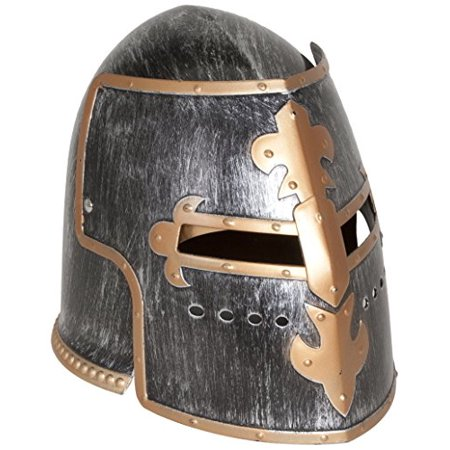 Jacobson Hat Company Men's Antiqued Pewter Knight Helmet, Silver, - Antique Halloween