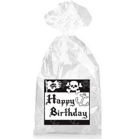 Happy Birthday Skulls (Black and White Pirates and Skulls Happy Birthday  Party Favor Bags with Ties -)