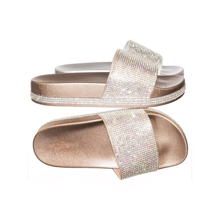 Viste07 by Forever Link, Rhinestone Slide In PVC Molded Footbed Flatform Sandal Slippers