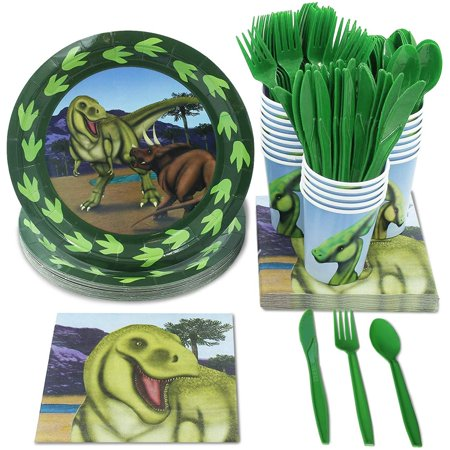 Girl Baby Shower Plates And Napkins (Juvale Kids Dinosaur Birthday Party Supplies - Dino Plates, Knives, Spoons, Forks, Napkins, and Cups, Serves)