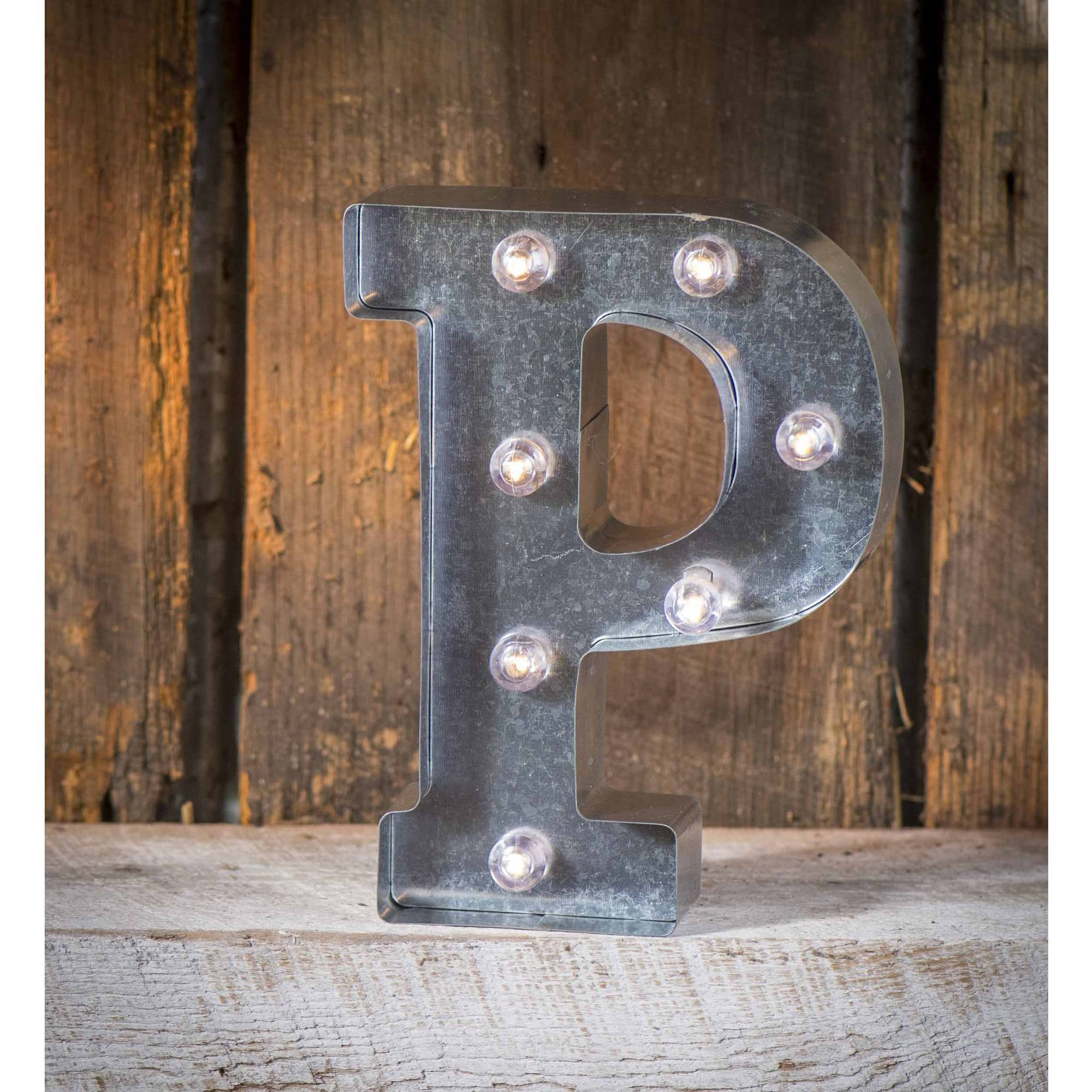 "Tin Letters With Lights Cool Silver Metal Marquee Letter 9875""p  Walmart Decorating Inspiration"