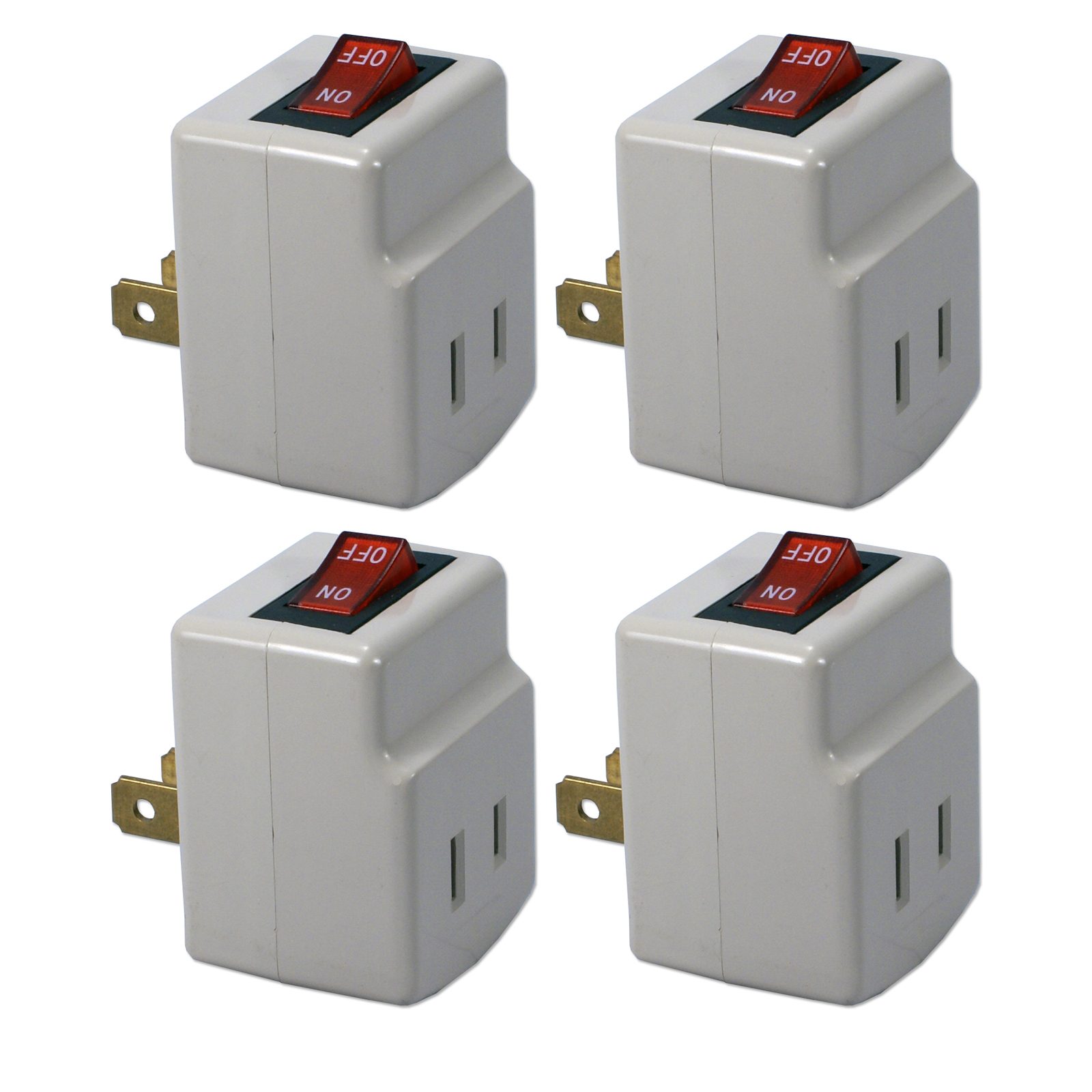 QVS Single-Port Power Adapter with On/Off Switch - 4-Pack