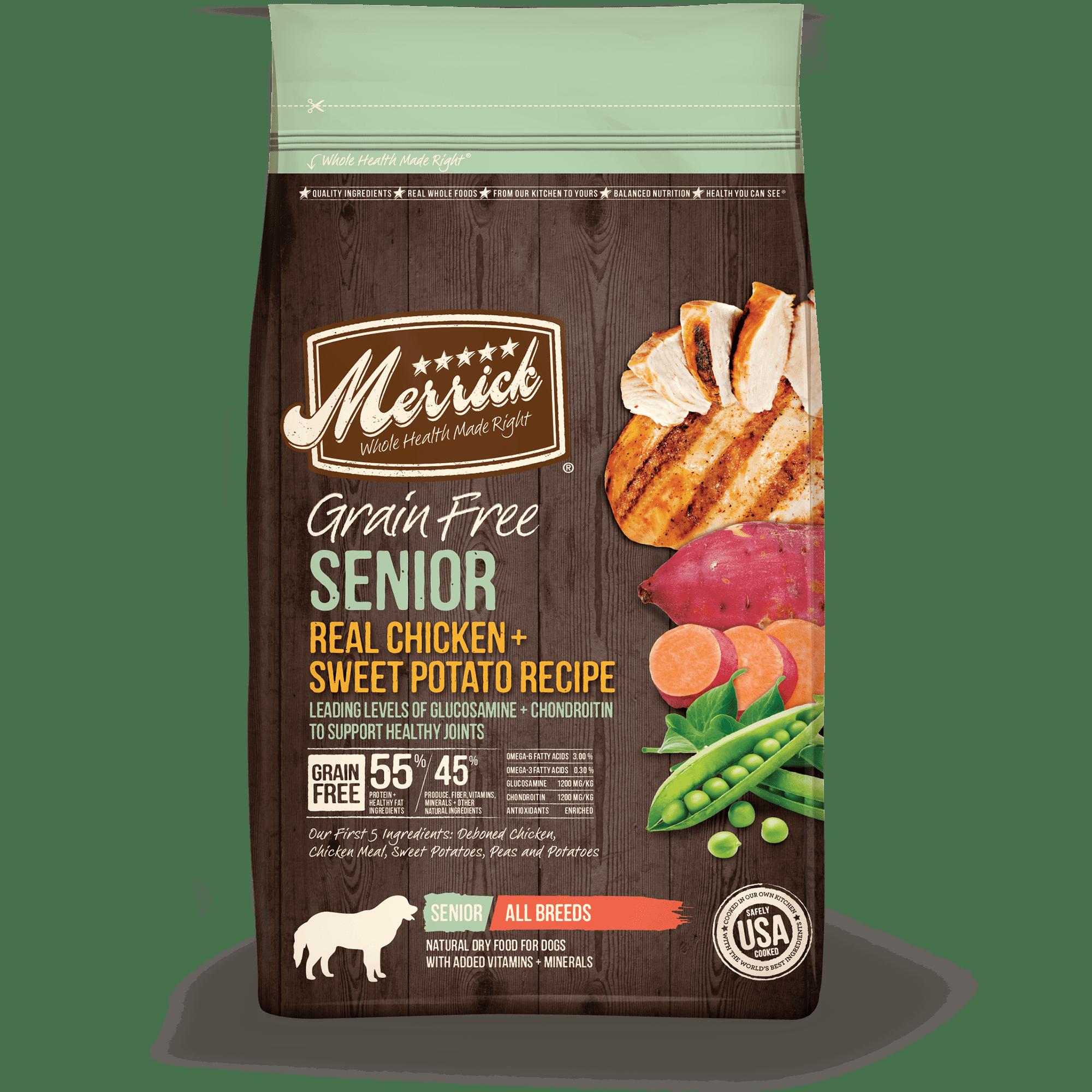 Merrick Grain-Free Real Chicken & Sweet Potato Recipe Senior Dry Dog Food, 25 lb