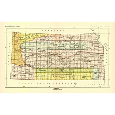 Old Kansas Map.Old State Map Kansas Bureau Of American Ethnology 1896 23 X