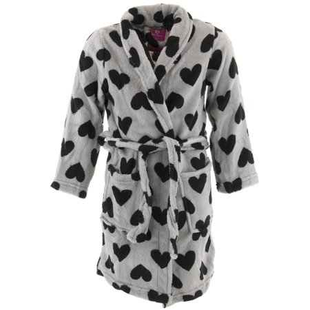 Chili Peppers Girls Gray Hearts Fleece Bathrobe - Kids Bathrobe