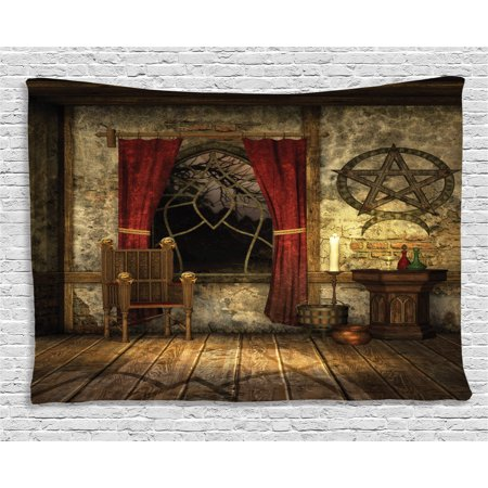 Gothic House Decor Tapestry, Pentagram Symbol in Candlelight Curtains Mystic Medieval Chamber Spiritual, Wall Hanging for Bedroom Living Room Dorm Decor, 60W X 40L Inches, Brown, by - Brown Tapestry