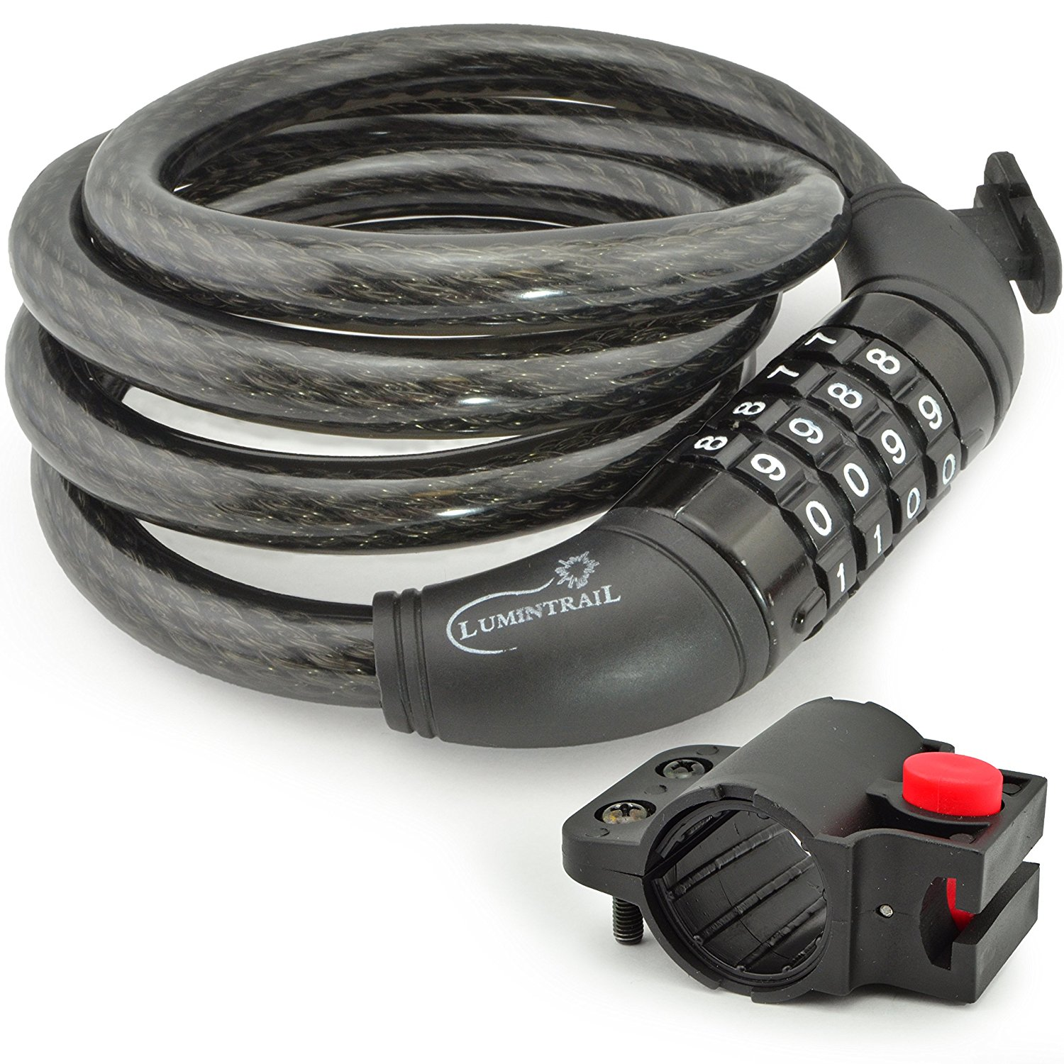 Lumintrail Bike Cable Lock, Self Coiling 12mm Braided Steel Cable Resettable Combination Cable Lock with Included Mounting Bracket (1 or 2 pack)