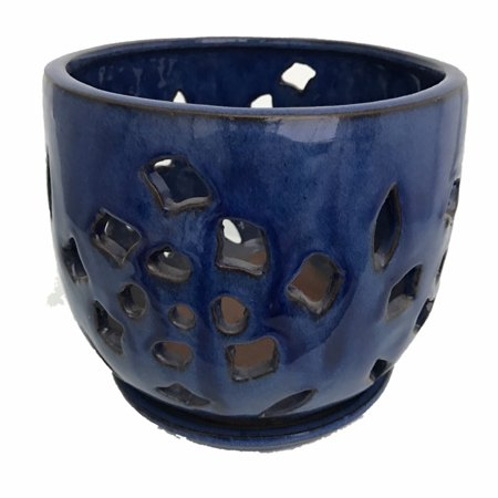 Flower Cut Glazed Ceramic Orchid Pot/Saucer - Blue - 5