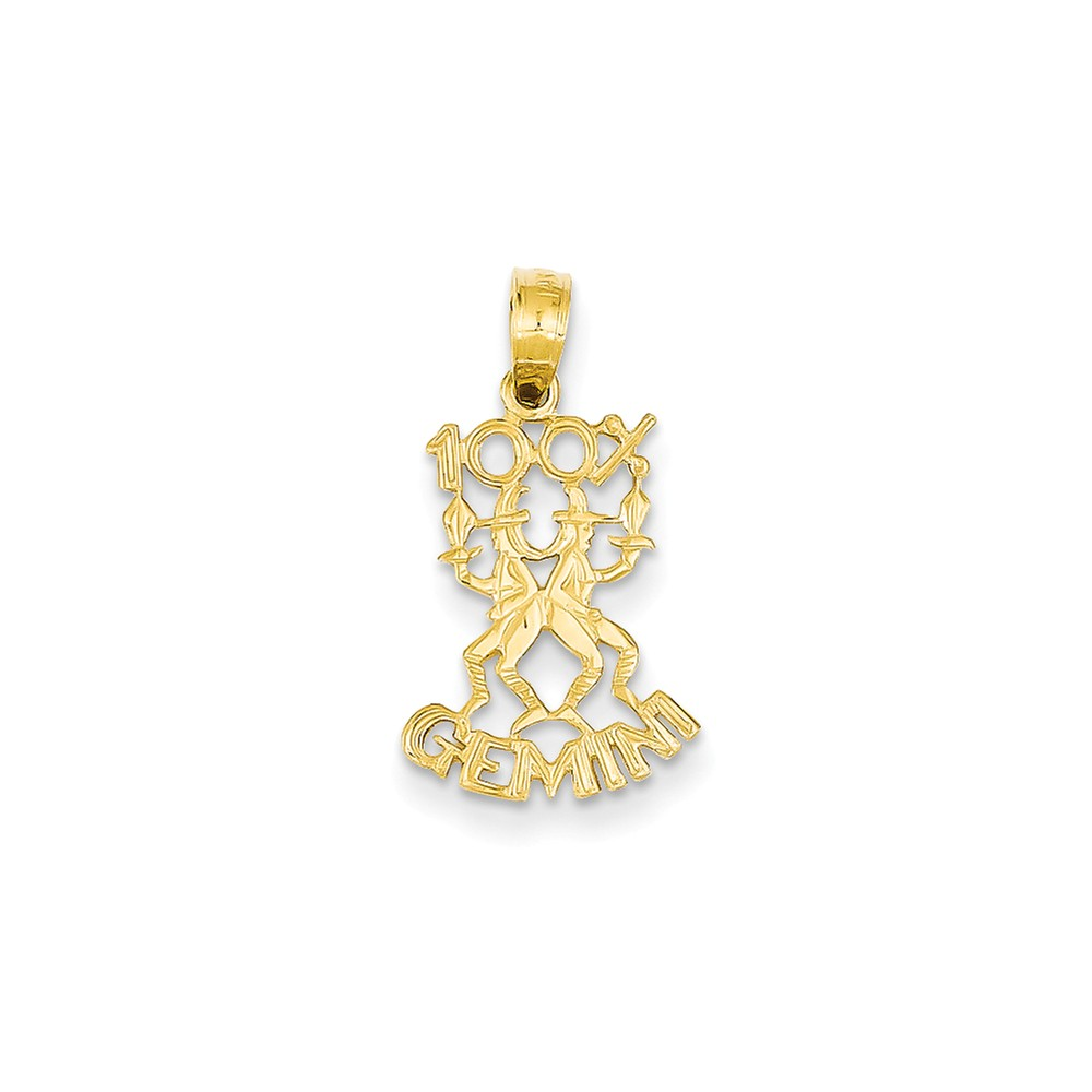14k Yellow Gold 1 Gemini Zodiac Pendant