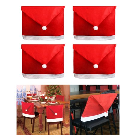 4x Santa Clause Decorations Red Christmas Hat Chair Covers Gifts