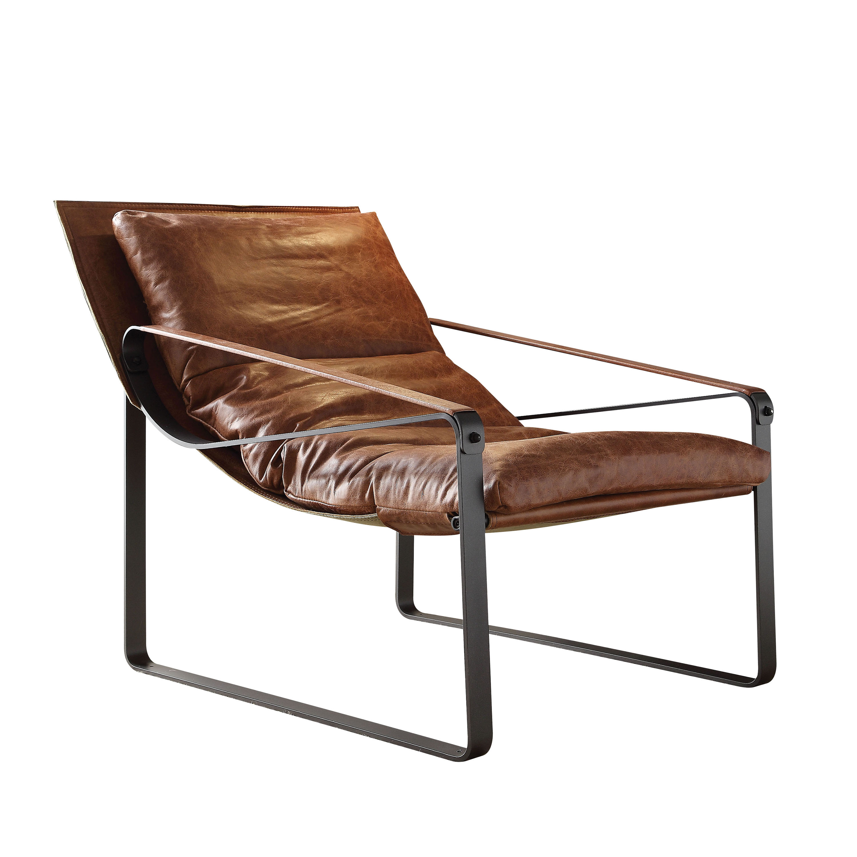 ACME Quoba Accent Chair, Cocoa Top Grain Leather