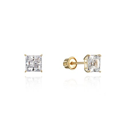 10k Yellow Gold 4mm Basket Princess Cut CZ Cubic Zirconia Children Screw Back Baby Girls Earrings