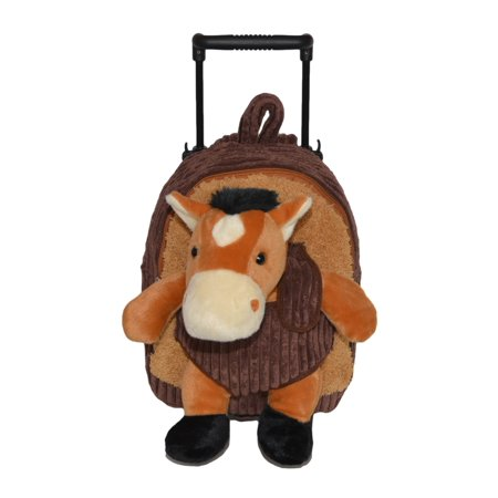 2-in-1 Brown Kids Plush Rolling Carry-On Luggage/Backpack with Telescopic Handle and Stuffed Pony Toy