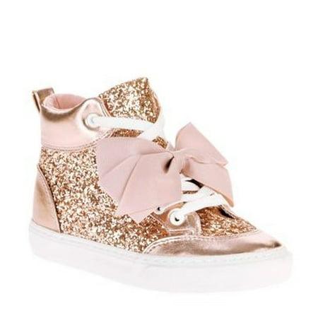 05554bb2473a JOJO SIWA - Jojo Siwa Girls  Rose Gold Crushed Glitter High Top -  Walmart.com