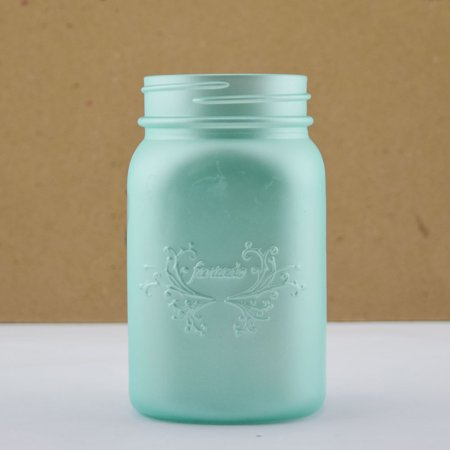 Fantado Regular Mouth Frosted Frozen Blue Mason Jar W/ Handle, 16Oz / 1 Pint By Paperlanternstore