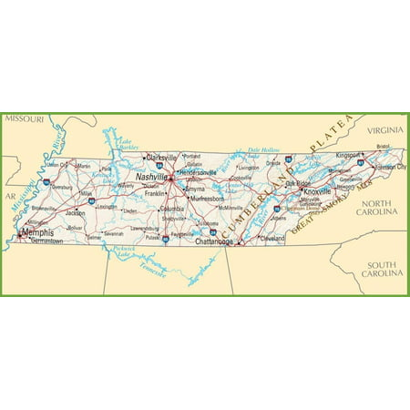 Laminated Poster Tennessee State Road Map Nashville City Poster Print 24 x 36](Party City Nashville West)