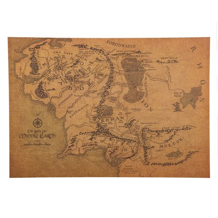Middle Earth Map Poster Lord Of The Rings The Hobbit Movie Wall Art Book Realm (Lord Of The Rings Cloth Map)