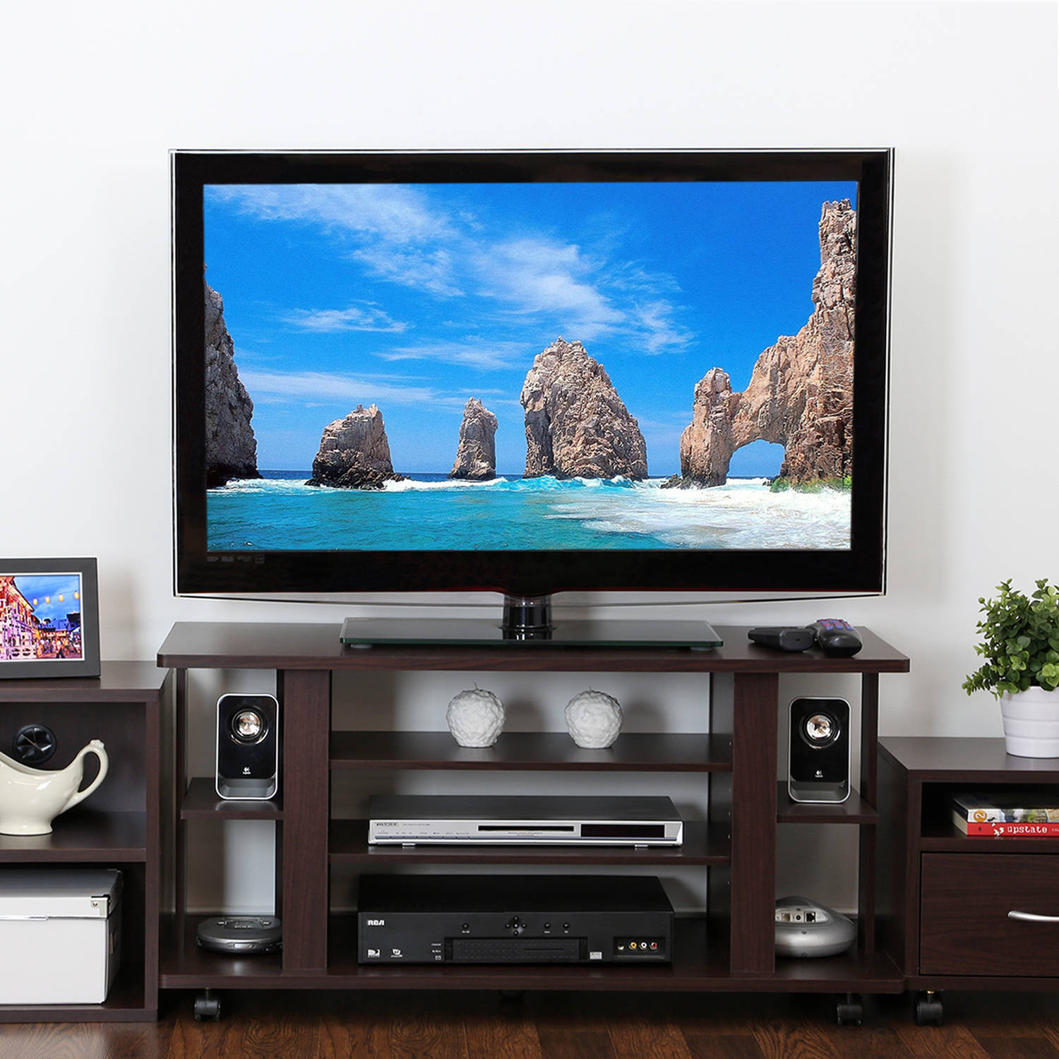 Furinno Indo Tier Low Rise Tatami Espresso TV Stand with Casters