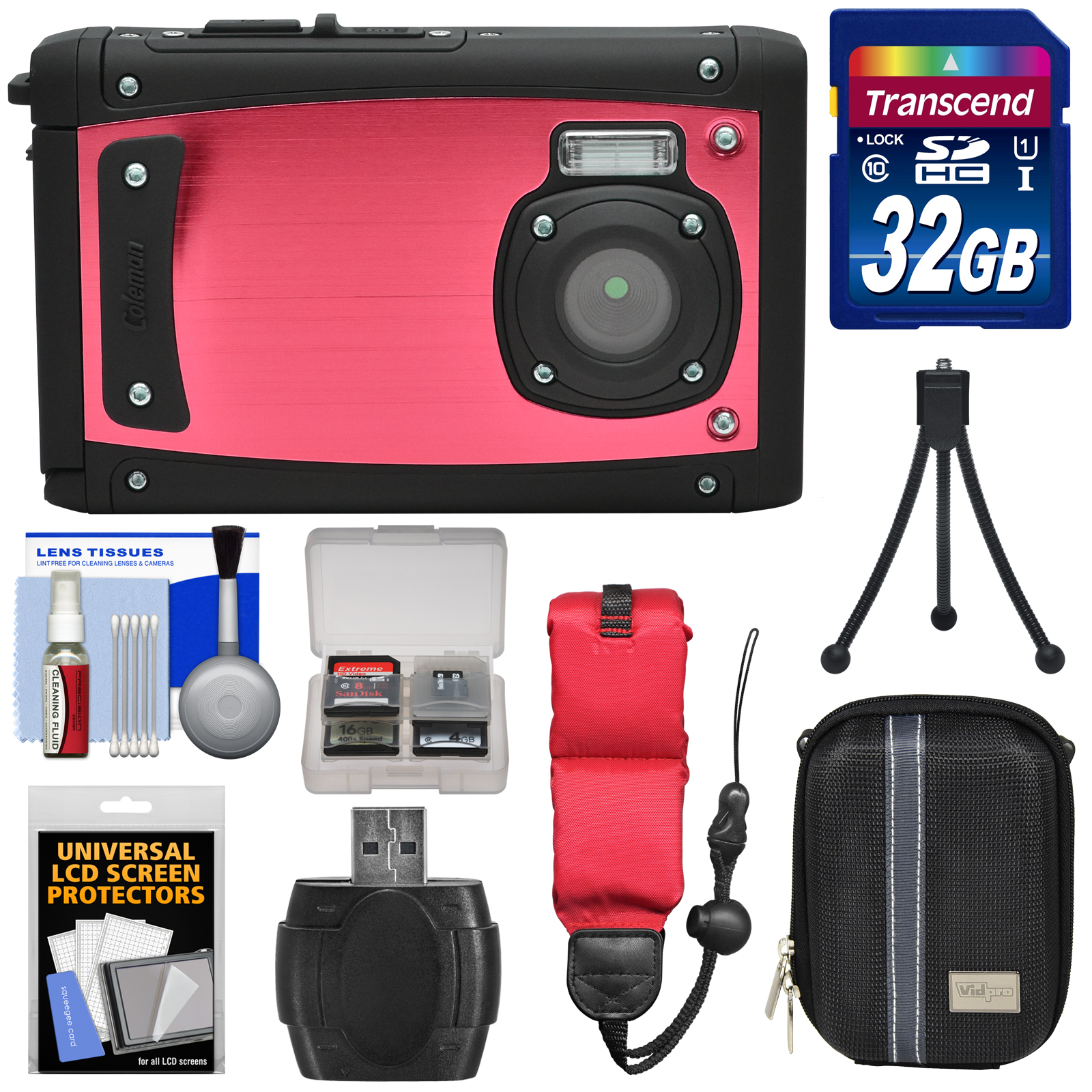 Coleman Venture HD C40WP Shock & Waterproof Digital Camera (Red) with 32GB Card + Case + Float Strap + Tripod + Kit by Coleman