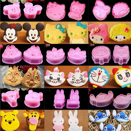 CUH 14 Sets Of Cartoon Cookie Fondant Modeling Soft Cake Decorating Biscuit Home DIY Cutter Plunger Mold - Halloween Fondant Plunger Cutters
