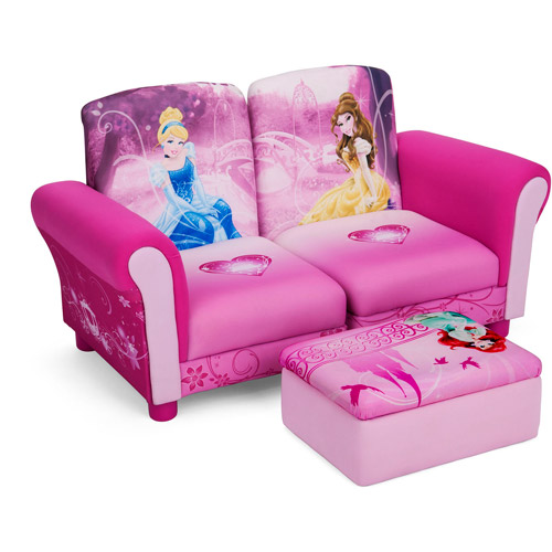 Disney -  3 Piece Upholstered Set, Princess Connecting Sofa Couches and Ottoman Set