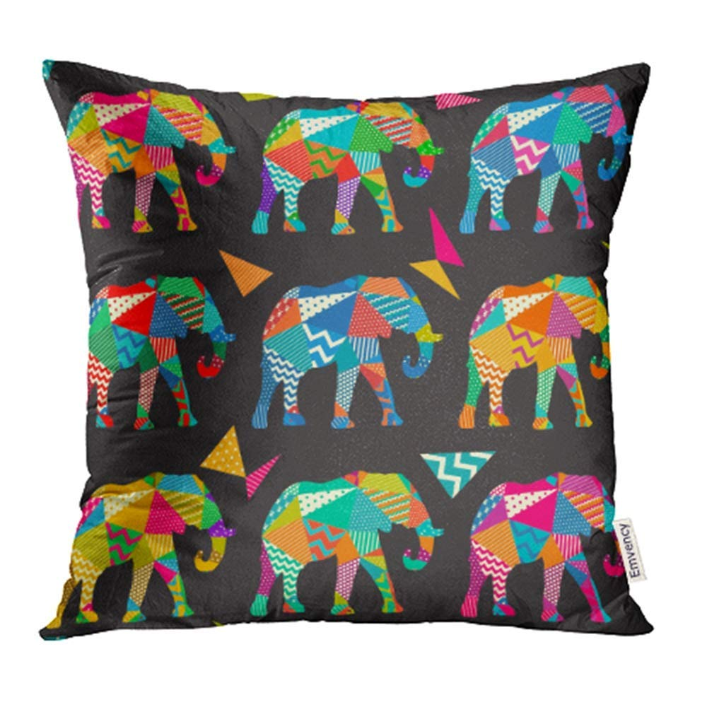 ARHOME Colorful Adorable Elephant Kids Pattern in Pink Animal Bedroom Cartoon Cute Dot Pillow Case Pillow Cover 18x18 inch Throw Pillow Covers