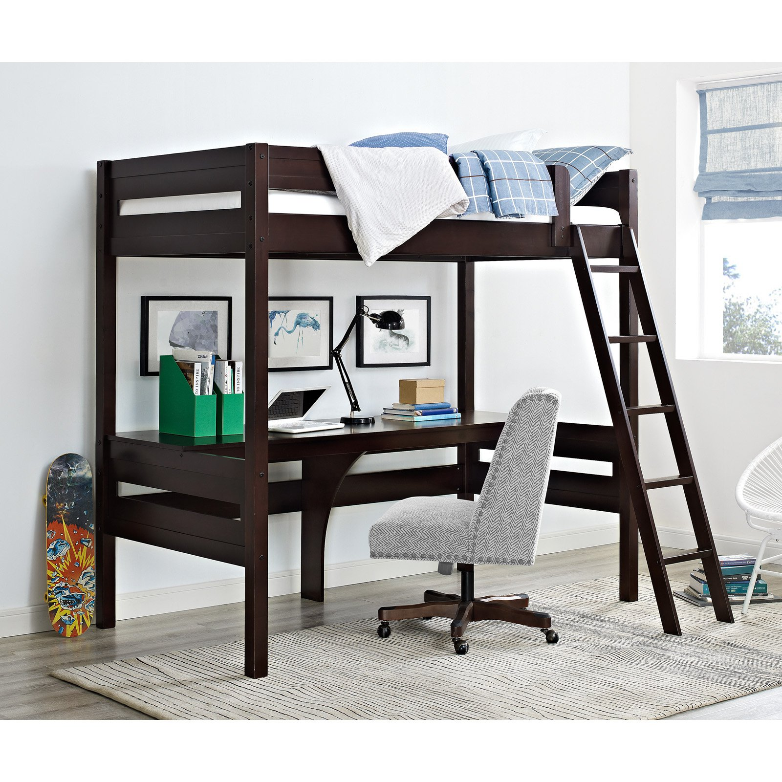Dorel Living Harlan Twin Wood Loft Bed with Desk, Espresso