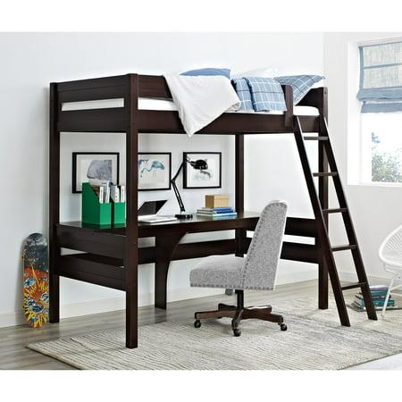Dorel Living Harlan Twin Wood Loft Bed With Desk Espresso