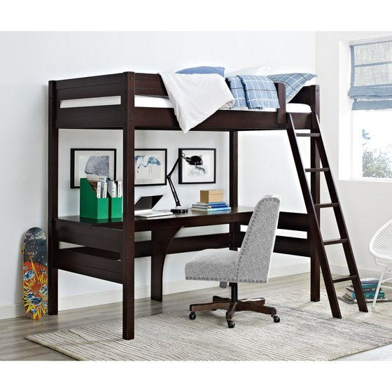 Dorel Living Harlan Twin Wood Loft Bed With Desk Espresso
