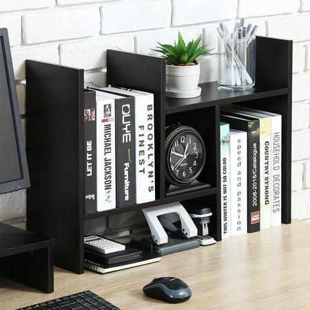 FITUEYES Desktop Organizer Office Storage Rack Adjustable Wood Display Shelf Top Bookcase DT207201WB