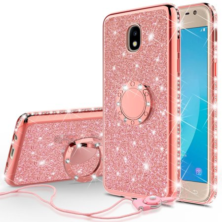For Tracfone/StraightTalk Samsung Galaxy J3 Orbit (S367VL) Case,Cute  Glitter Bling Diamond Bumper Ring Stand Phone Case Sparkly Clear Kickstand  Case