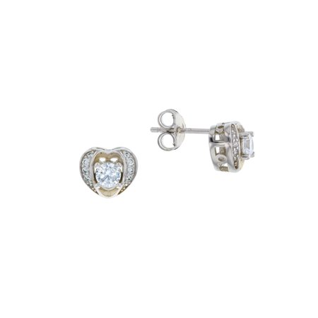 ZilverZoom Sterling Silver Rhodium Plated 4MM Round CZ in Heart Shape Stud