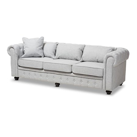 Strange Baxton Studio Alaise Modern Classic Linen Tufted Scroll Arm Chesterfield Sofa Multiple Colors Gamerscity Chair Design For Home Gamerscityorg