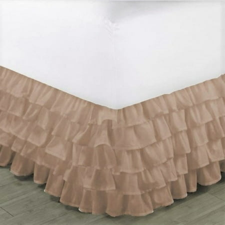 "Gypsy Queen Taupe Ruffled Bed Skirt  Wrap Around Layered Solid Bed Dust Ruffle 20"" Inch Drop"